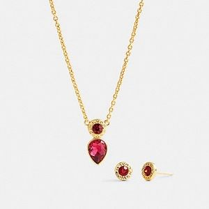 Coach necklace and earrings set in ruby red